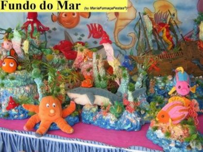 Infantil   Anivers  Rio Infantil Decorado   O Tema Fundo Do Mar